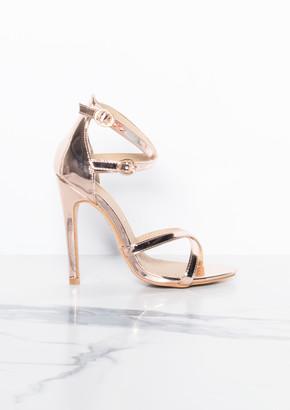 19804da67138 Missy Empire Missyempire Dalah Rose Gold Metallic Strap Open Toe Heels