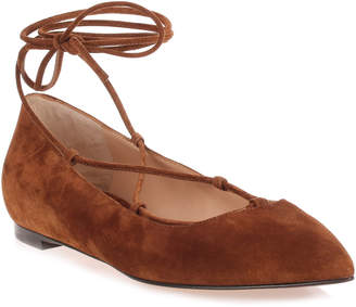 Gianvito Rossi Brown suede lace up Femi' Flat