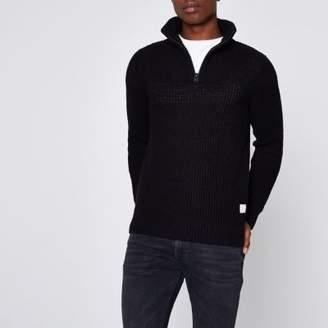 River Island Jack and Jones Core black knit high neck sweater