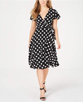 Jessica Howard Polka Dot Midi Wrap Dress
