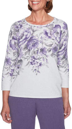 Alfred Dunner Smart Investments 3/4 Sleeve Floral Shimmer Sweater