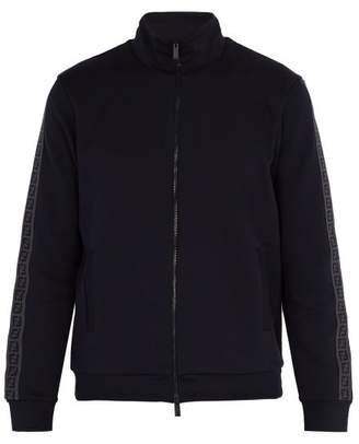 Fendi Logo Jacquard Cotton Blend Sweatshirt - Mens - Navy