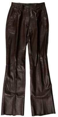 Prada Leather Mid-Rise Pants