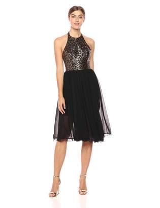 ad3fa8cdbcbd5 Dress the Population Women s Tatiana Sequin Halter Fit   Flare Midi Dress