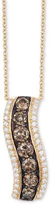 """LeVian Le Vian Chocolatier Diamond Curve 18"""" Pendant Necklace (9/10 ct. t.w.) in 14k Gold"""