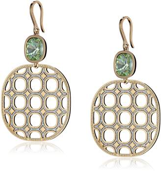 Rebecca Seventies Gold with Green Swarovski Crystals Earrings