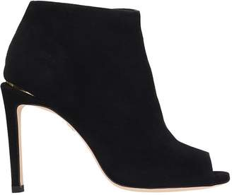 Lola Cruz Open Toe Black Suede Ankle Boots