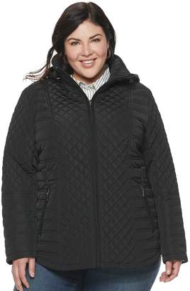 Gallery Plus Size Hooded Quilted Midweight Jacket