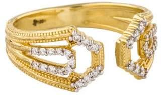 Jude Frances 18K Diamond Lisse Open Pentagon Pavé Ring