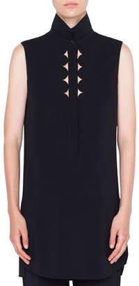 Akris Punto Sleeveless Kent-Collar Memphis-Scallop Tunic