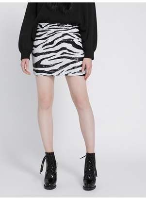 Alice + Olivia Ramos Zebra Sequin Mini Skirt