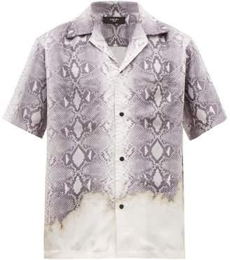 Amiri Python Print Silk Short Sleeved Shirt - Mens - Grey
