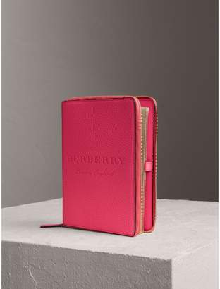 Burberry Embossed Grainy Leather Ziparound A5 Notebook Case