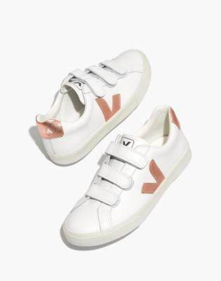 Madewell Veja 3-Lock Esplar Low Sneakers in White and Gold