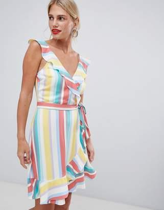 Oasis Rainbow stripe tea dress