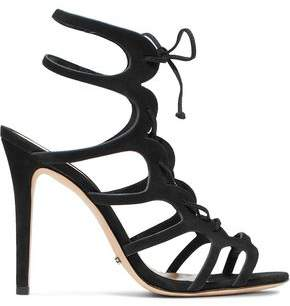 Schutz Woman Laurine Lace-up Cutout Nubuck Sandals Size 9.5 5IIUSvpo8
