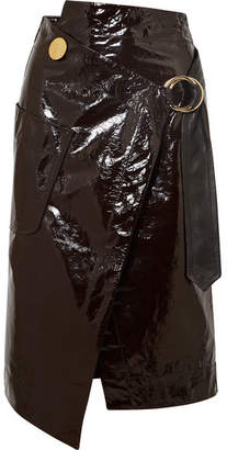 Petar Petrov Asymmetric Patent-leather Wrap Skirt - Dark brown
