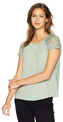 Lucky Brand Women's Lace Sleeve Top