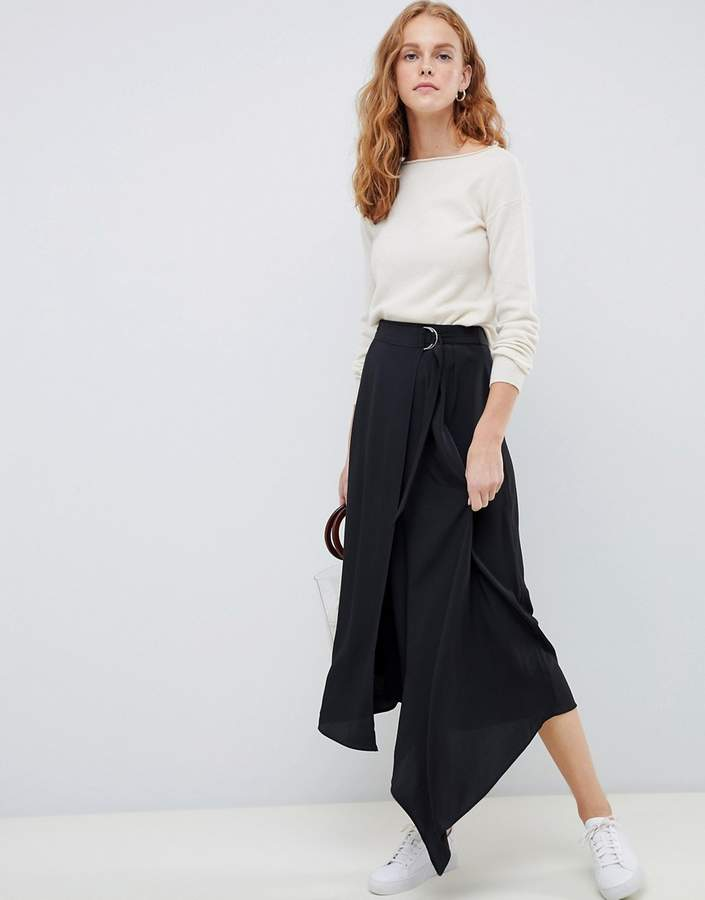 ASOS DESIGN wrap midi skirt with D-ring