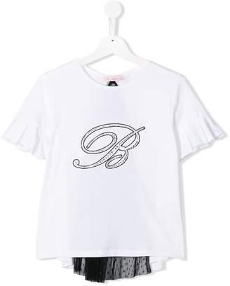 Miss Blumarine TEEN ruffle sleeve T-shirt