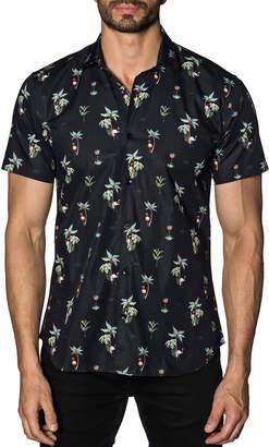 Jared Lang Men's Semi-Fitted Flamingo-Print Short-Sleeve Sport Shirt