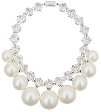 Miu Miu silver and white oversized pearl necklace