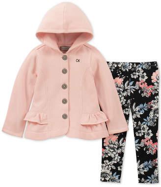 Calvin Klein Toddler Girls 2-Pc. Hooded Fleece Jacket & Leggings Set