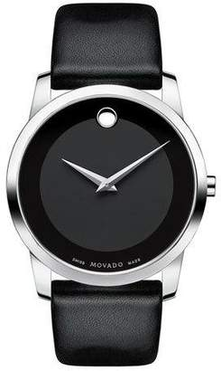 Movado 40mm Museum Classic Watch with Leather Strap, Black