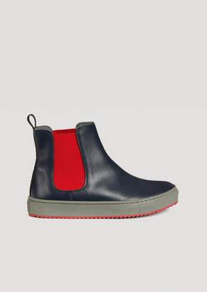 Emporio Armani Leather Ankle Boots With Contrasting Elastic Inserts
