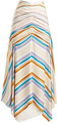 Peter Pilotto Ruched striped-jersey skirt