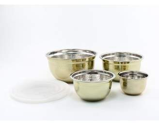 Cambridge Silversmiths 4-Piece Hammered Gold Storage Bowls with Lids