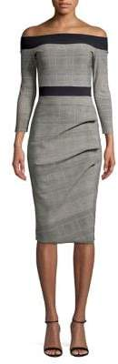 Chiara Boni Folded Off-the-Shoulder Glen Plaid Dress