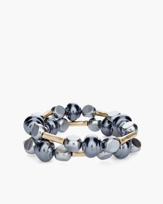 Gray Stone Double-Strand Stretch Bracelet