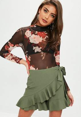 Missguided Satin Floaty Tea Skort