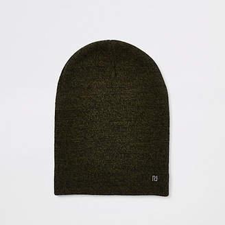 River Island Khaki green twist knit slouch beanie hat