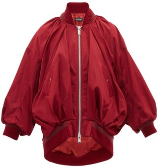 Undercover Draped Silk Satin Bomber Jacket - Womens - Burgundy