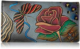 Anuschka Anna by Women's Handpainted Leather Ladies Wallet Snap Button Closure
