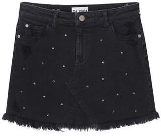 DL1961 Premium Denim Distressed Frayed-Hem Rhinestone Denim Skirt, Size 7-16
