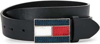 Tommy Hilfiger Black Logo Flag Plaque Belt