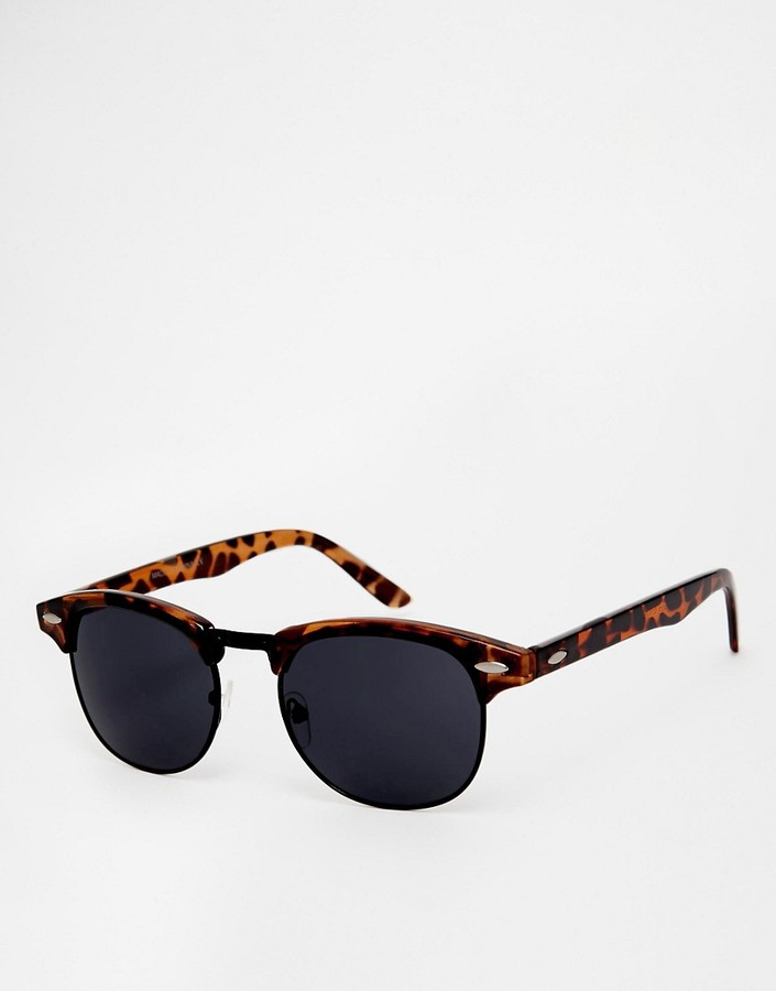 ASOS Retro Sunglasses With Black Lens - Brown
