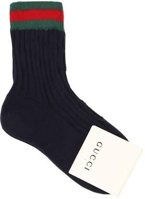 Gucci Web Cotton Knit Socks