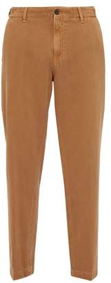 White Sand - Mid Rise Washed Cotton Blend Chinos - Mens - Brown