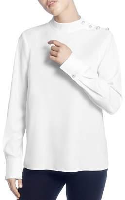 Catherine Malandrino Long-Sleeve Mock-Neck Top