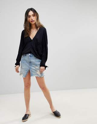 6ad5fe370 Free People Relaxed and Destroyed Split Denim Skirt
