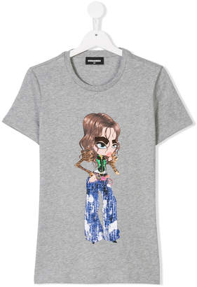 DSQUARED2 textured girl print T-shirt