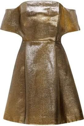 Sandro Palacio Off-The-Shoulder Cotton-Blend Lamé Mini Dress