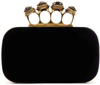 Alexander McQueen Black Spider Jewelled Four Ring Clutch
