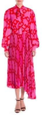 MSGM Chain Print Pleated Midi Dress
