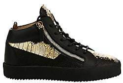 Giuseppe Zanotti Men's Crocodile Embossed Leather Sneakers