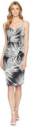 London Times Cotton Sateen V-Neck Midi Sheath Women's Dress